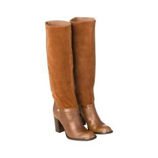 Взуття Чоботи GANNI Suede heeled boots in brown